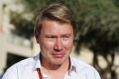Mika Häkkinen in actie tijdens Gamma Racing Day