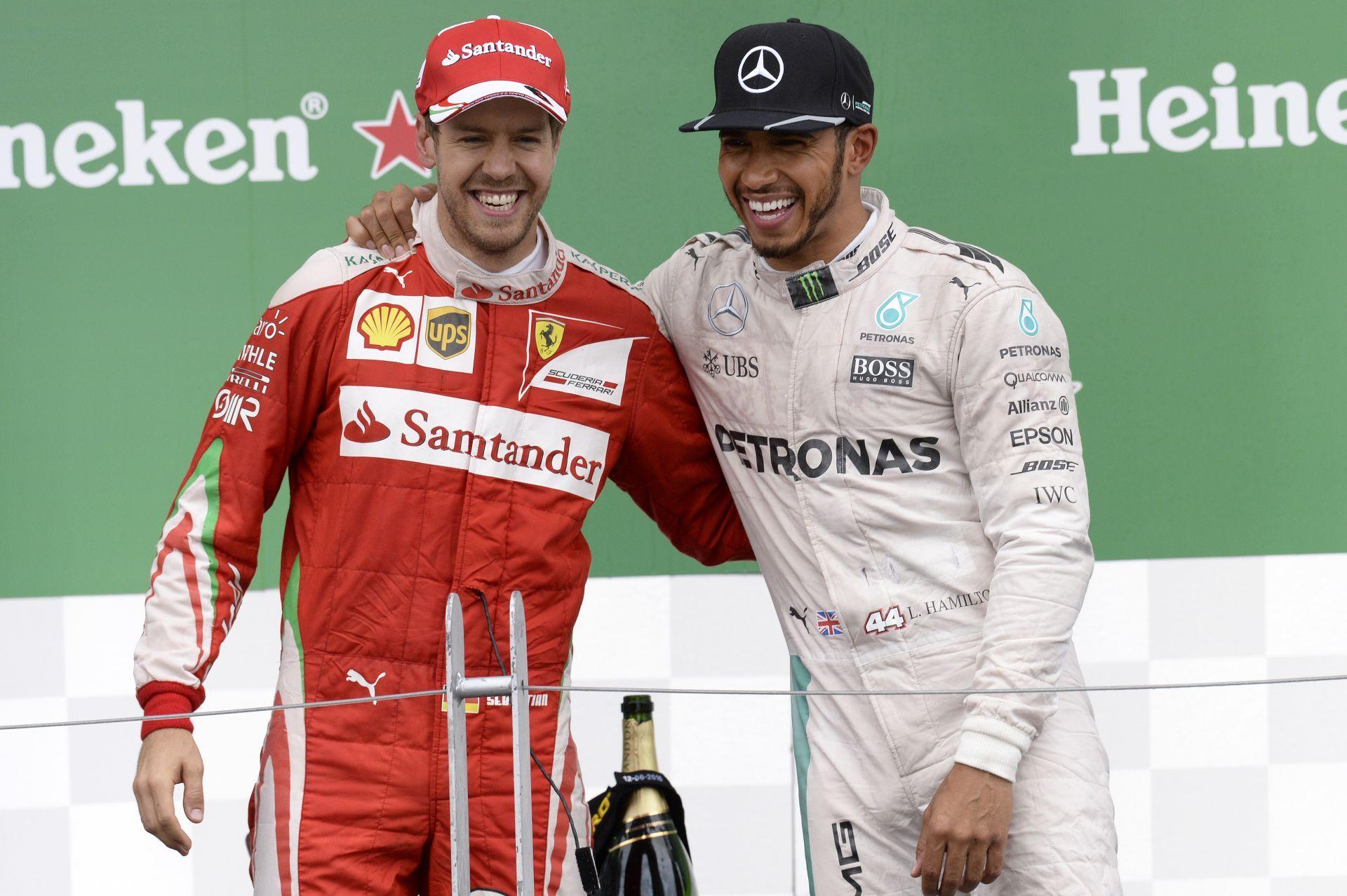 Képgaléria Hamilton és Vettel közös örömködése Kanadából