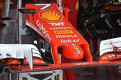 Tech update: Ferrari test verder met vleugel en turning vanes