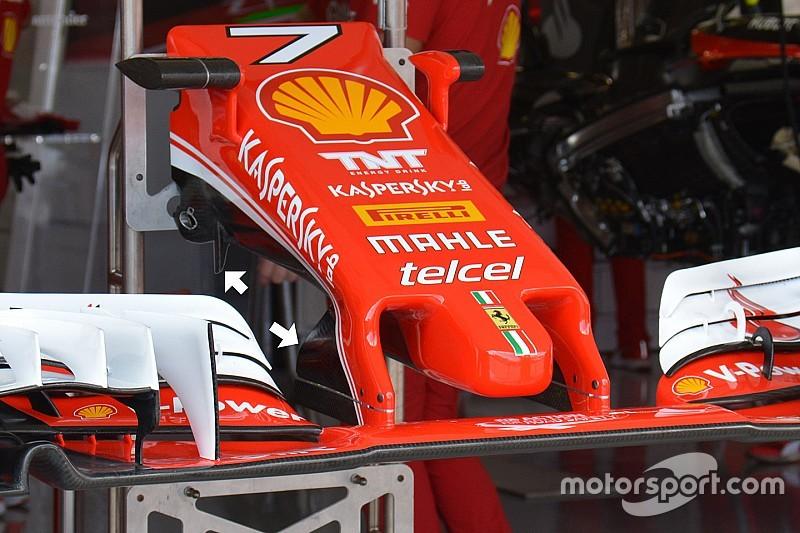Técnica: soportes del ala delantero del Ferrari SF16-H en Japón