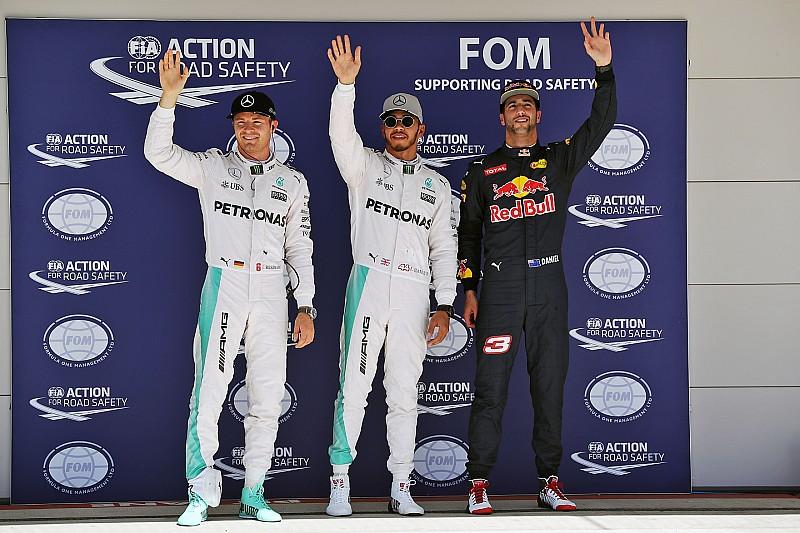 美国大奖赛排位赛:汉密尔顿以0.2秒优势力压罗斯伯格夺杆位