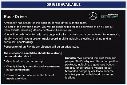 """Mercedes geniale: pubblica un annuncio """"cercasi pilota"""" su Autosport!"""