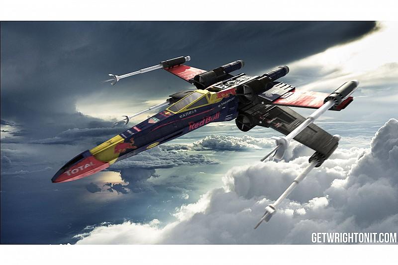 De X-Wing uit Star Wars in Formule 1-kleuren