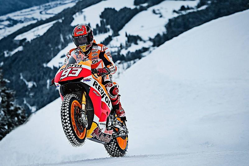 Photos - Márquez et sa Honda sur la neige de Kitzbühel!