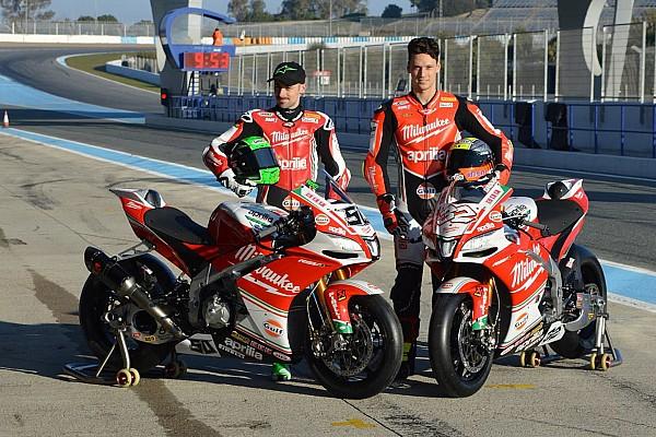 Presentato a Jerez il team Milwaukee Aprilia di Savadori e Laverty