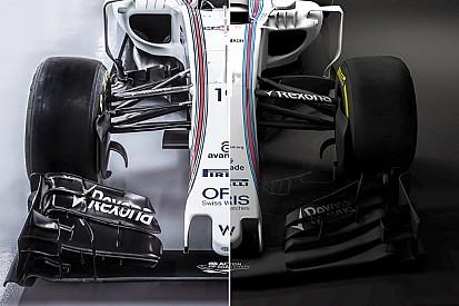 Compara visualmente el Williams FW38 y el FW40 de 2017