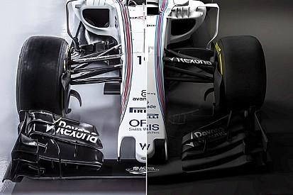 Compara visualmente el Williams FW38 y el FW40