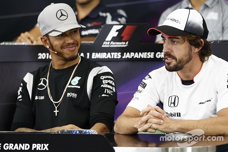 Pesquisa mostra Hamilton e Alonso empatados em popularidade