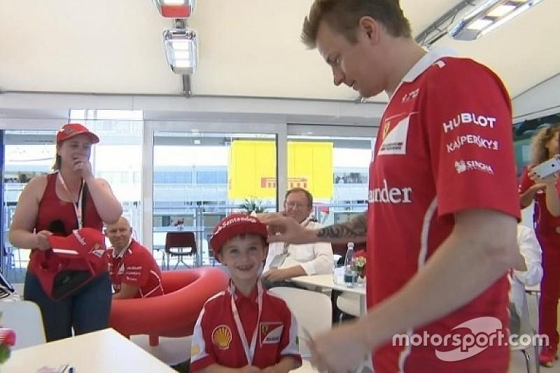 Pequeno fã da Ferrari rouba cena no GP da Espanha