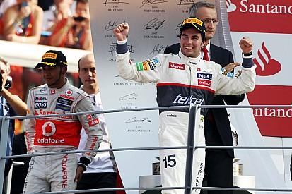 Cuando Pérez superó a los Ferrari para ser segundo en Monza