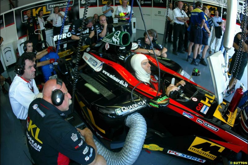 Minardi, Qualifying for the French Grand Prix, Magny Cours, France, July 20th 2002.