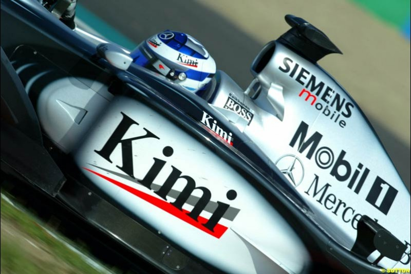 Kimi Raikkonen, McLaren, Qualifying for the French Grand Prix, Magny Cours, France, July 20th 2002.