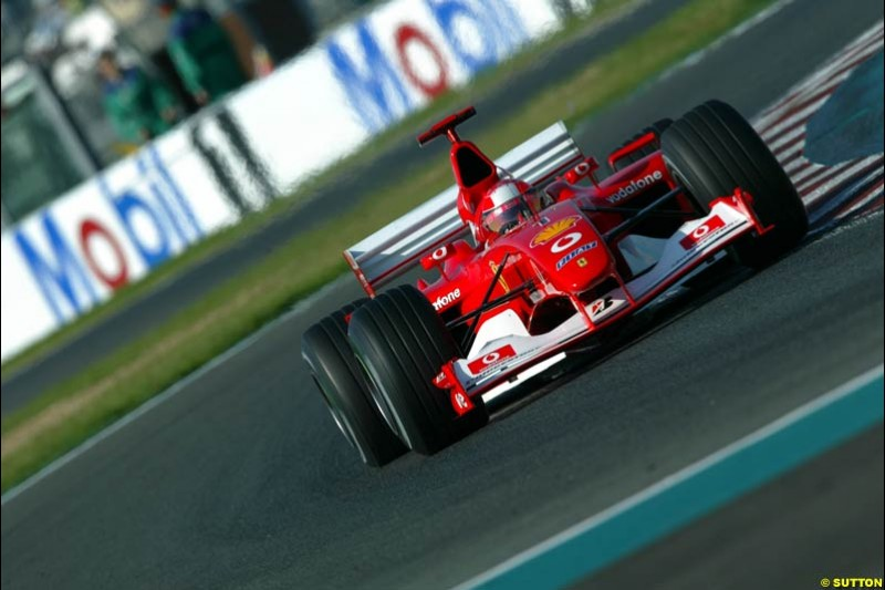 Michael Schumacher, Ferrari, Qualifying for the French Grand Prix, Magny Cours, France, July 20th 2002.