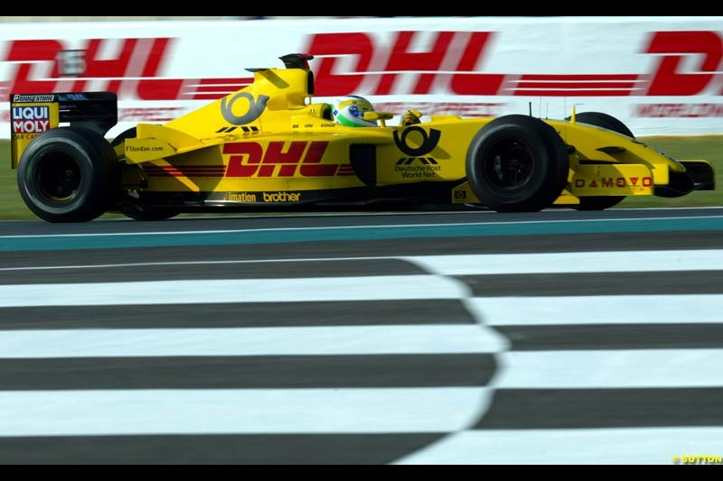 Takuma Sato, Jordan, Qualifying for the French Grand Prix, Magny Cours, France, July 20th 2002.