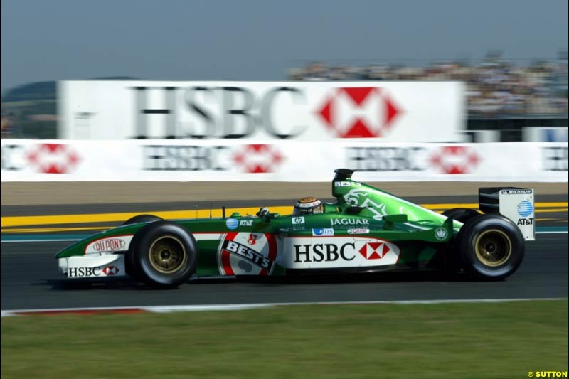 Eddie Irvine, Jaguar, sets his best qualifying result this season. Qualifying for the French Grand Prix, Magny Cours, France, July 20th 2002.