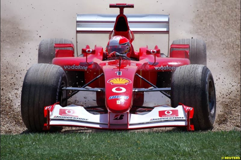 Michael Schumacher, Ferrari, makes an error. Qualifying for the French Grand Prix, Magny Cours, France, July 20th 2002.