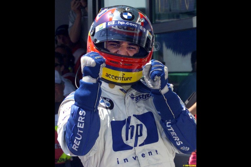 Juan Pablo Montoya claims his 5th consecutive pole. Qualifying for the French Grand Prix, Magny Cours, France, July 20th 2002.