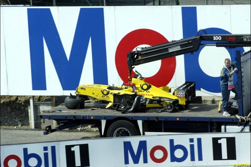 Giancarlo Fisichella's Jordan car brought back to the pits after his crash in Saturday Free Practice. French Grand Prix, Magny Cours, France, July 20th 2002.