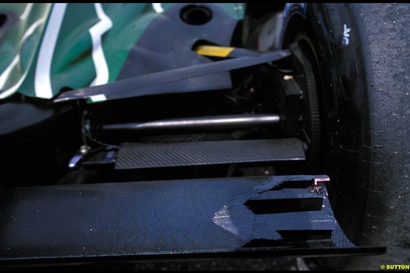 Jaguar rear suspension. French Grand Prix, Magny Cours, France, July 21st 2002.