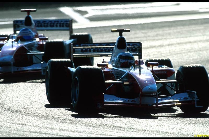 The two Toyotas. French Grand Prix, Magny Cours, France, July 21st 2002.