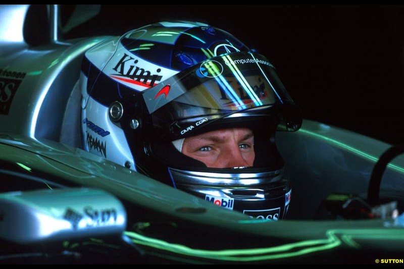 Kimi Raikkonen, Mclaren. French Grand Prix, Magny Cours, France, July 21st 2002.