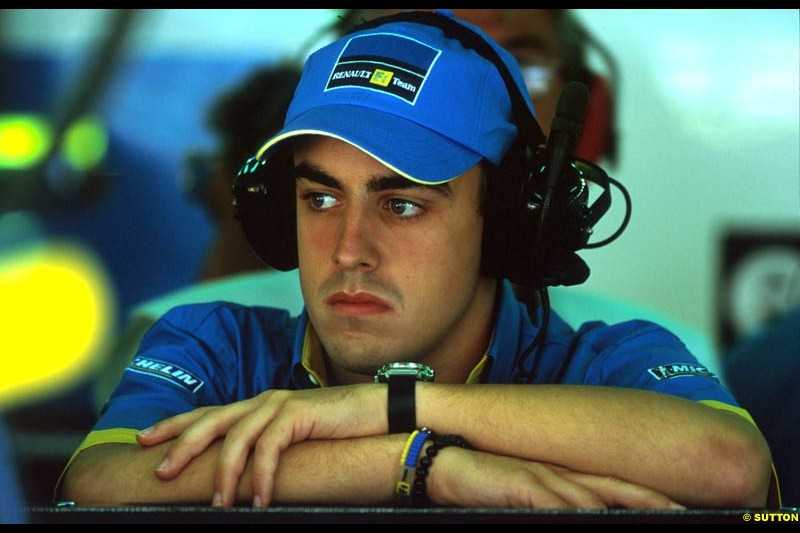 Renault announced Fernando Alonso would partner Jarno Trulli at Renault in 2003. French Grand Prix, Magny Cours, France, July 21st 2002.