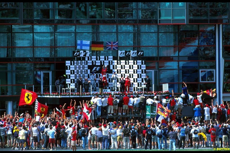 The Podium. French Grand Prix, Magny Cours, France, July 21st 2002.