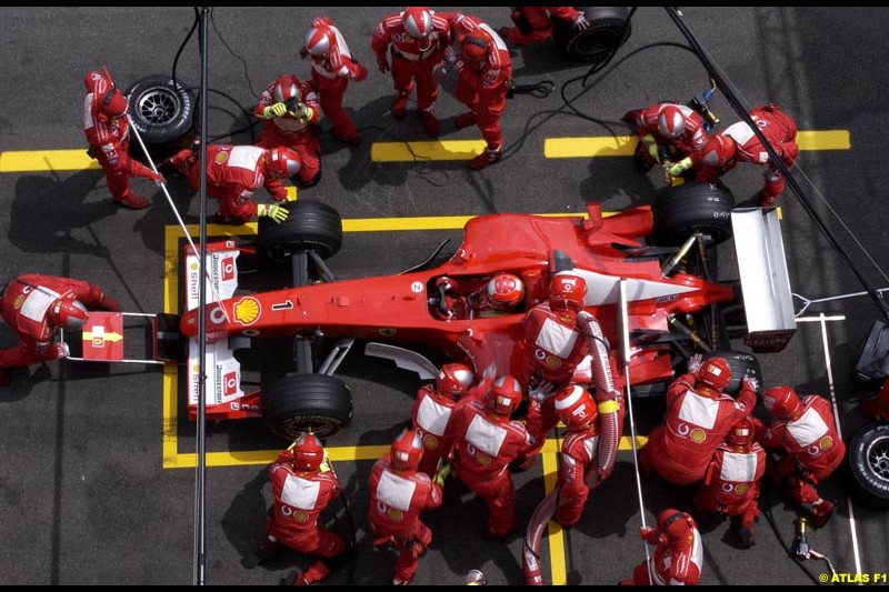 Ferrari's Michael Schumacher pits. French Grand Prix, Magny Cours, France, July 21st 2002.