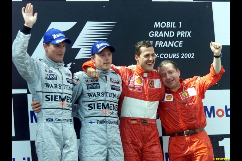 The Podium, French Grand Prix, Magny Cours, France, July 21st 2002