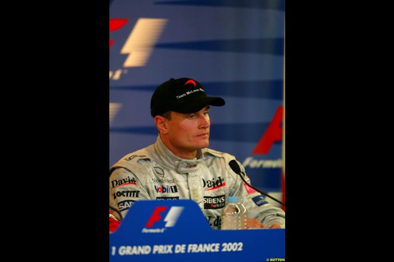 David Coulthard, McLaren, at the post race press conference. French Grand Prix, Magny Cours, France, July 21st 2002.
