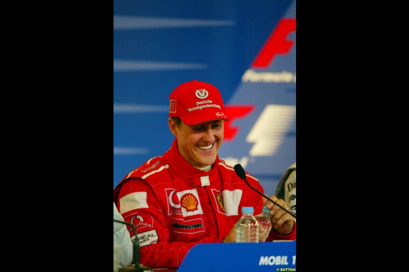 Michael Schumacher, Ferrari, at the post race press conference. French Grand Prix, Magny Cours, France, July 21st 2002.
