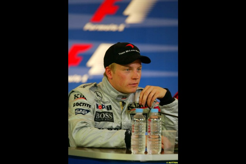 Kimi Raikkonen, McLaren, at the post race press conference. French Grand Prix, Magny Cours, France, July 21st 2002.