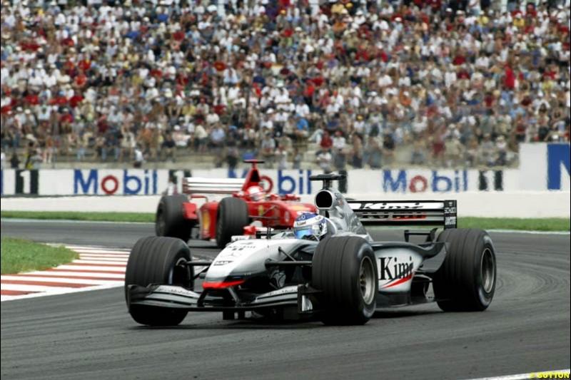 Kimi Raikkonen, McLaren, French Grand Prix, Magny Cours, France, July 21st 2002.