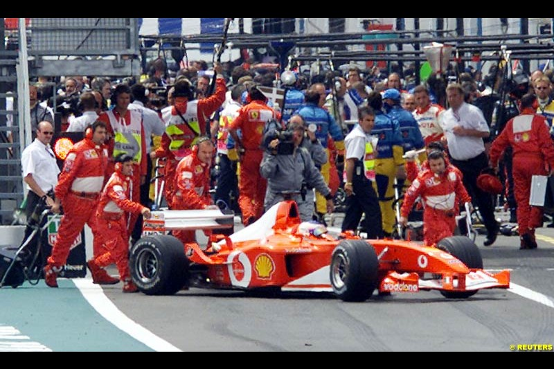 Rubens Barrichello pushed off the grid at the start of the French Grand Prix, Magny Cours, France, July 21st 2002.