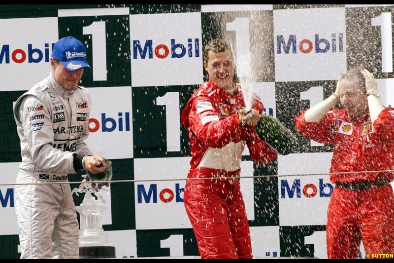 The podium of the French Grand Prix, Magny Cours, France, July 21st 2002.