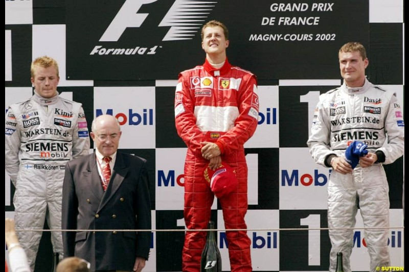 The podium, French Grand Prix, Magny Cours, France, July 21st 2002.