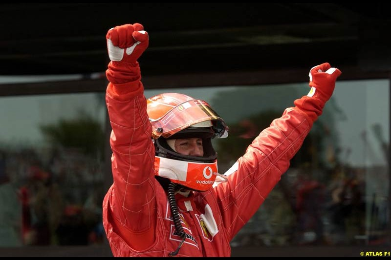 Michael Schumacher clinches his 5th WC. French Grand Prix, Magny Cours, France, July 21st 2002.