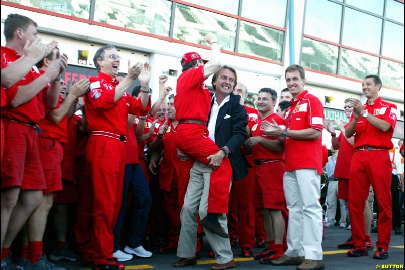Ferrari celebrate Michael Schumacher's 5th WC. French Grand Prix, Magny Cours, France, July 21st 2002.