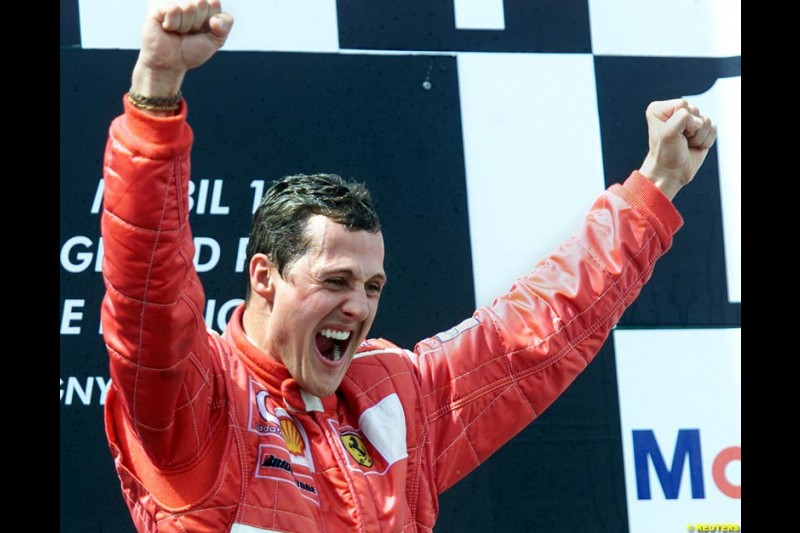 Michael Schumacher, Ferrari, secures his 5th World Championship with a win at the French Grand Prix, Magny Cours, France, July 21st 2002.