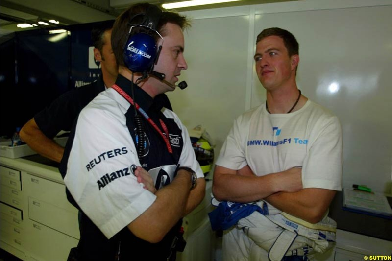 Ralf Schumacher and a Williams engineer. German Grand Prix, Hockenheim, Germany, July 27th 2002.