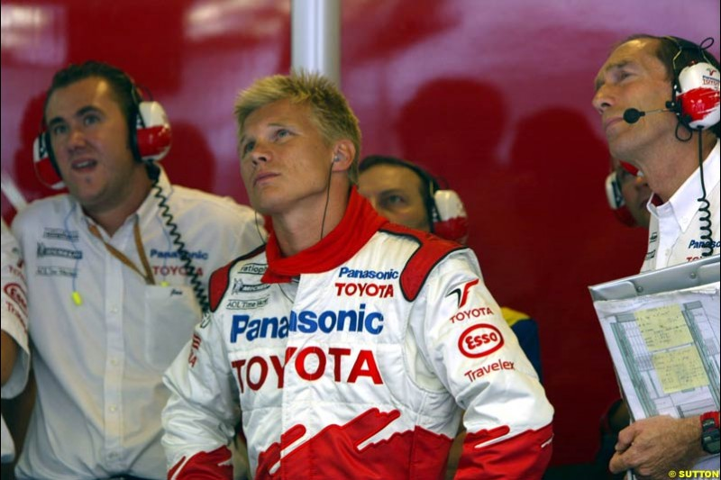 Mika Salo, Toyota, during Friday free practice for the Hungarian Grand Prix, Hungaroring, Hungary, August 16 2002.