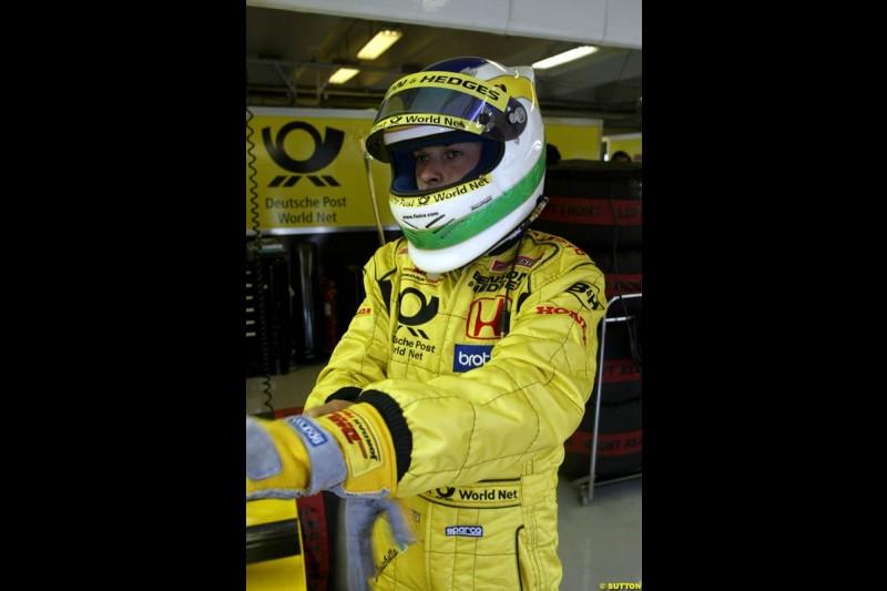 Giancarlo Fisichella, Jordan, during Friday free practice for the Hungarian Grand Prix, Hungaroring, Hungary, August 16 2002.