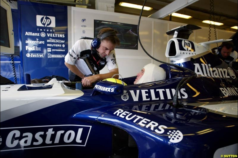 Ralf Schumacher, Williams, during Friday free practice for the Hungarian Grand Prix, Hungaroring, Hungary, August 16 2002.