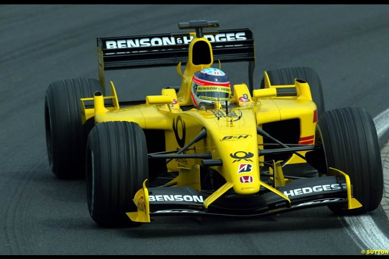 Takuma Sato, Jordan, during Friday free practice for the Hungarian Grand Prix, Hungaroring, Hungary, August 16 2002.