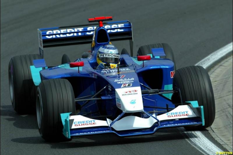 Nick Heidfeld, Sauber, during Friday free practice for the Hungarian Grand Prix, Hungaroring, Hungary, August 16 2002.