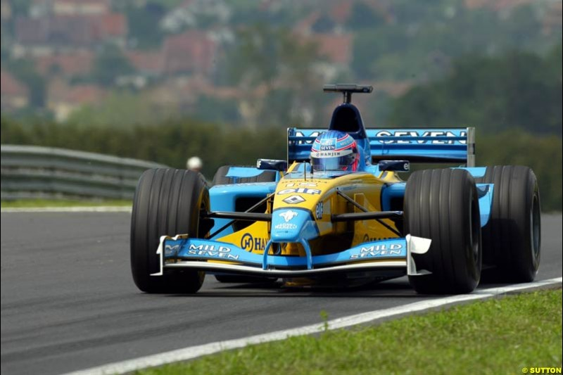 Jenson Button, Renault, during Friday free practice for the Hungarian Grand Prix, Hungaroring, Hungary, August 16 2002.