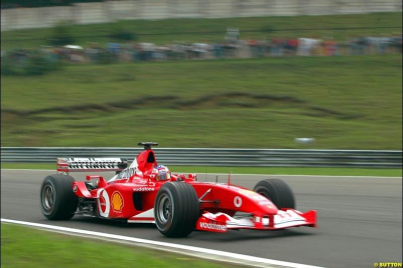 Rubens Barrichello, Ferrari, during Friday free practice for the Hungarian Grand Prix, Hungaroring, Hungary, August 16 2002.