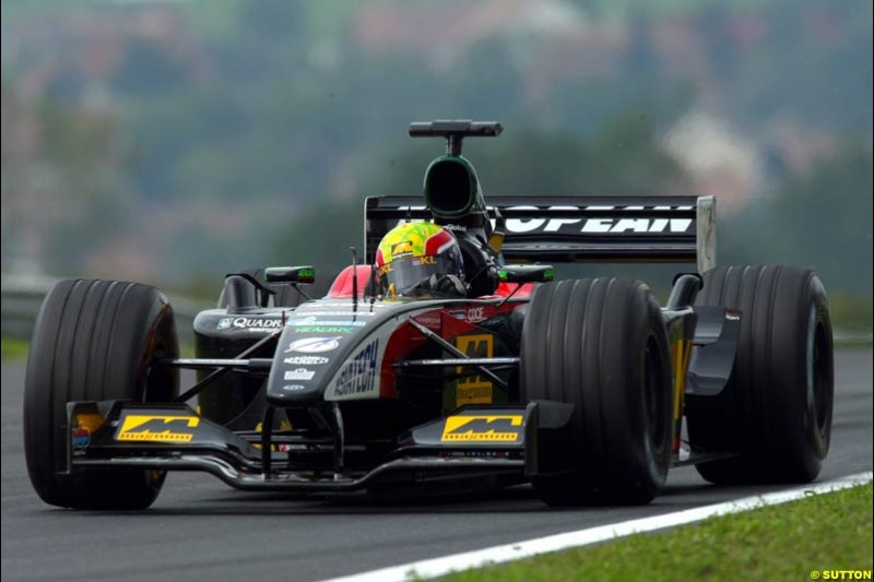 Mark Webber, Minardi, during Friday free practice for the Hungarian Grand Prix, Hungaroring, Hungary, August 16 2002.