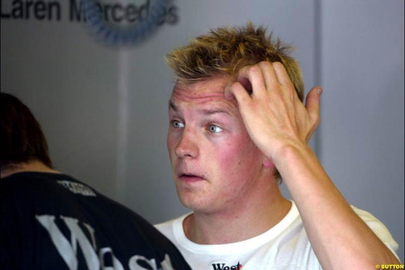 Kimi Raikkonen, McLaren, during Friday free practice for the Hungarian Grand Prix, Hungaroring, Hungary, August 16 2002.