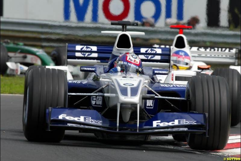 Juan Pablo Montoya, Williams, during Friday free practice for the Hungarian Grand Prix, Hungaroring, Hungary, August 16 2002.